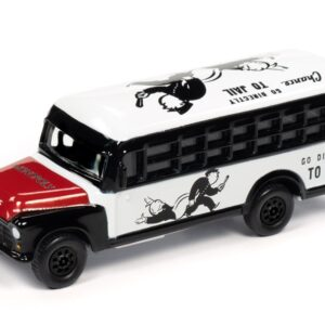 Johnny Lightning –  Monopoly 85th Anniversary 1956 Chevrolet School Bus and Game Token