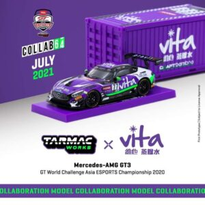 Tarmac Works – Mercedes AMG GT3 (Purple) GT World Challenge Asia ESPORTS Championship 2020 with Container